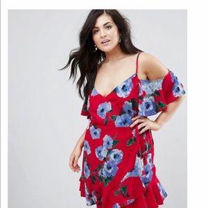 Asos 18 cold shoulder island wrap dress